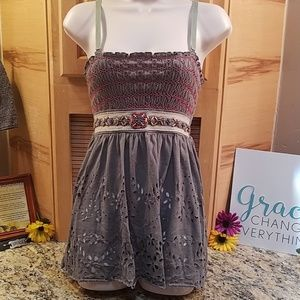 Free people beaded green & pink cami, XS, GUC